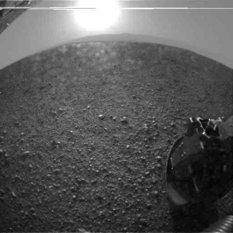 Highly processed version of Curiosity sol 0 rear hazcam image