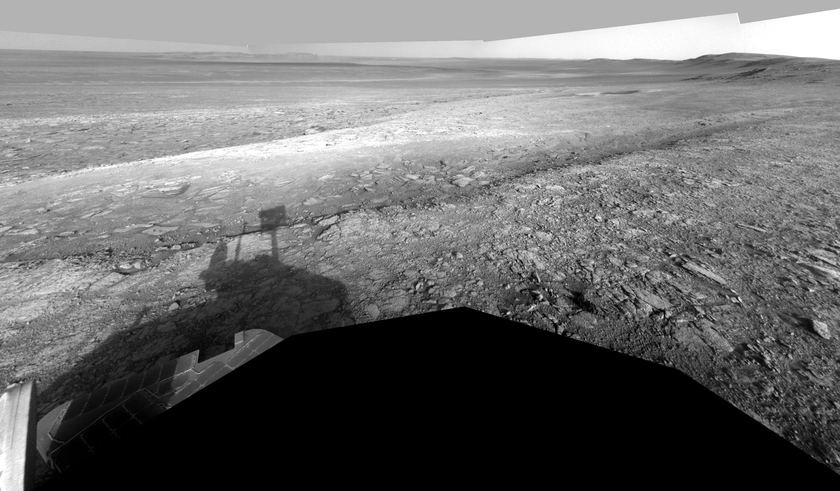 Opportunity contemplates Whim Creek, sol 3020 (July 23, 2012)