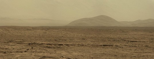 Panoramic view of southeastern foothills of Gale's central mound, Curiosity sol 51