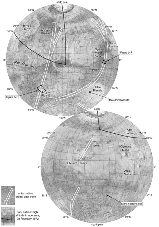 Map of data acquired by the Mars 3 mission, 1972
