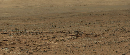 Curiosity Mastcam-100 panorama of Shaler from Point Lake, sol 110