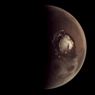 Whirly clouds near Mars' north pole