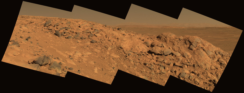 Panoramic view of Clovis outcrop with Gusev basin behind, sol 210