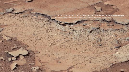 Spherules in Yellowknife Bay, Curiosity sol 139 (December 25, 2012)