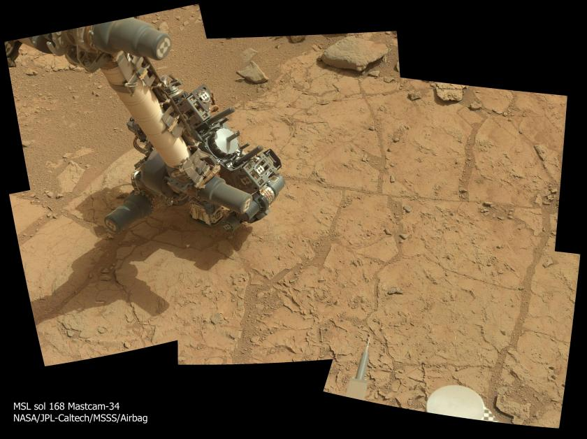 Curiosity's APXS pressed against John Klein, sol 168