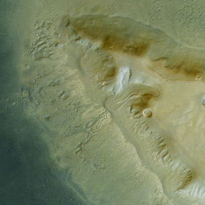 Detail view of mass wasting feature within Deuteronilus Mensae