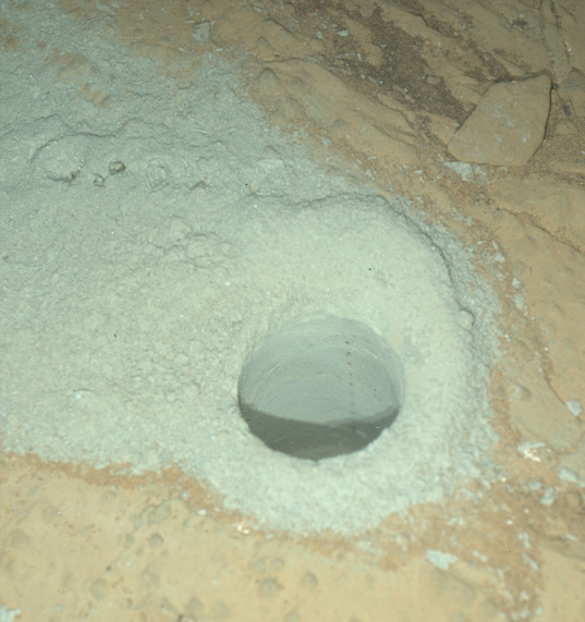 Cumberland drill hole after dark, Curiosity sol 292 (June 2, 2013)