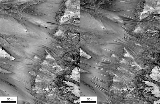 Recurring slope lineae at Newton Crater, Mars, in the early season (left) and the late season (right)
