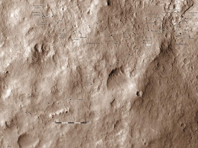 Curiosity route map to sol 349