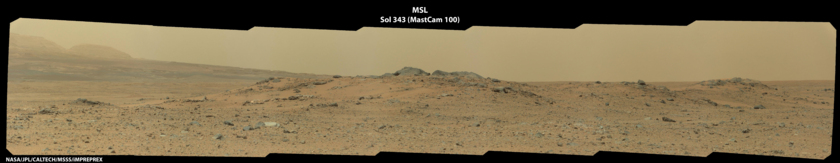 Curiosity view of low ridge and distant foothills of Mount Sharp, sol 343