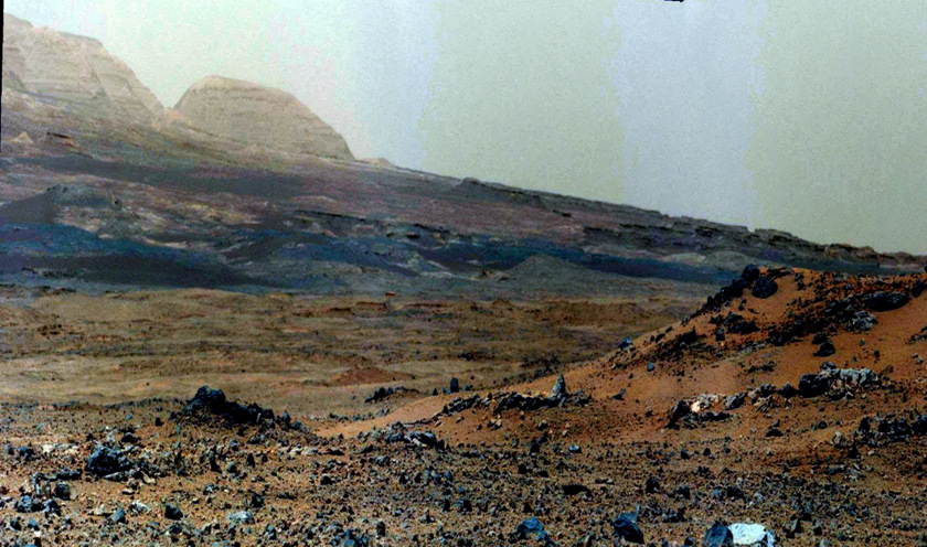 Vertically exaggerated, contrast-enhanced view of Mount Sharp foothills, sol 343