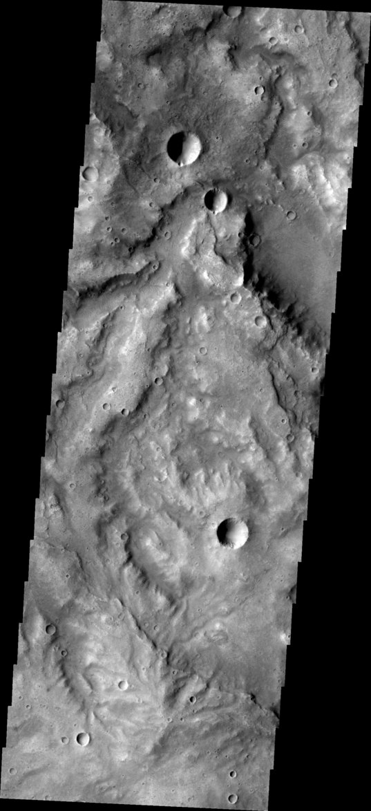 THEMIS image of a region on Mars containing valley networks