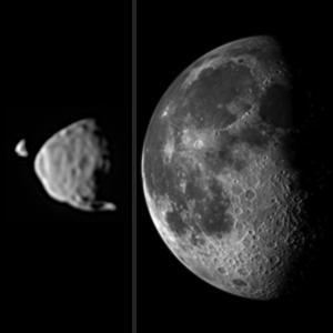 Apparent sizes of Phobos and Deimos in Curiosity's sky compared to the Moon in Earth's sky