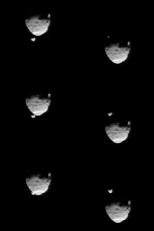 Six frames from the occultation of Deimos by Phobos, Curiosity sol 351