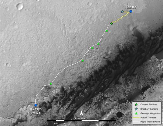 Long-term traverse map for Curiosity as of August 27, 2013 (sol 376)