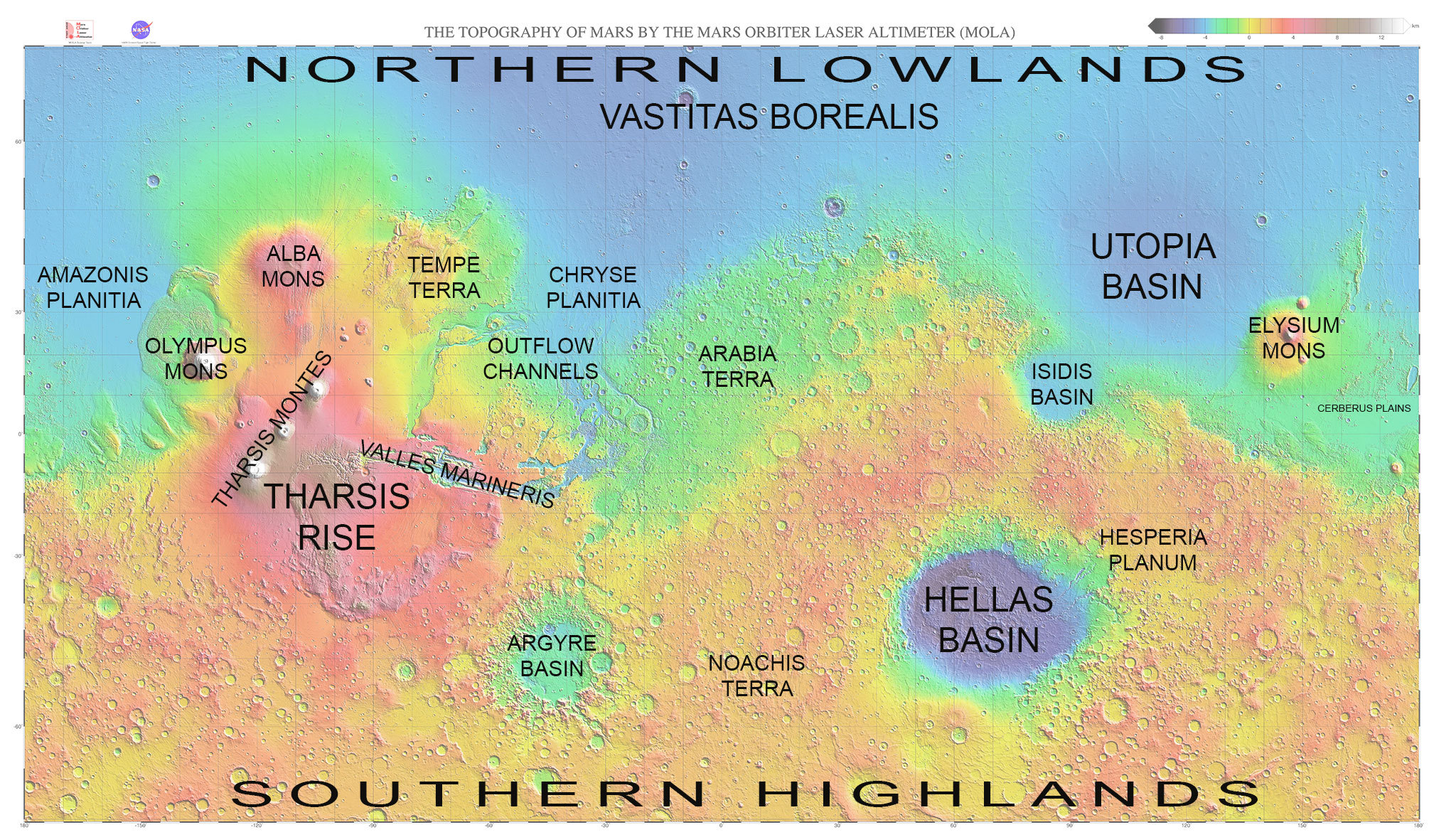 Map of Mars with major regions labeled The Planetary Society