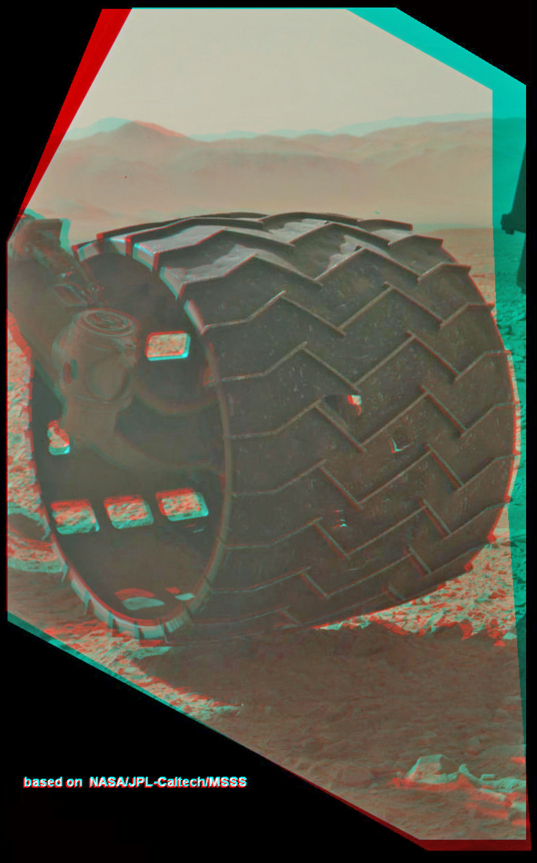 3D view of holes in Curiosity's left middle wheel, sol 463