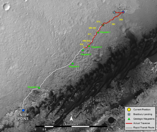 Curiosity route map to sol 454 (November 15, 2013)