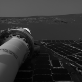 Opportunity's first photo from the surface of Mars