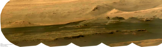 ChemCam/Mastcam mosaic of Mount Sharp dunes and foothills, sol 507