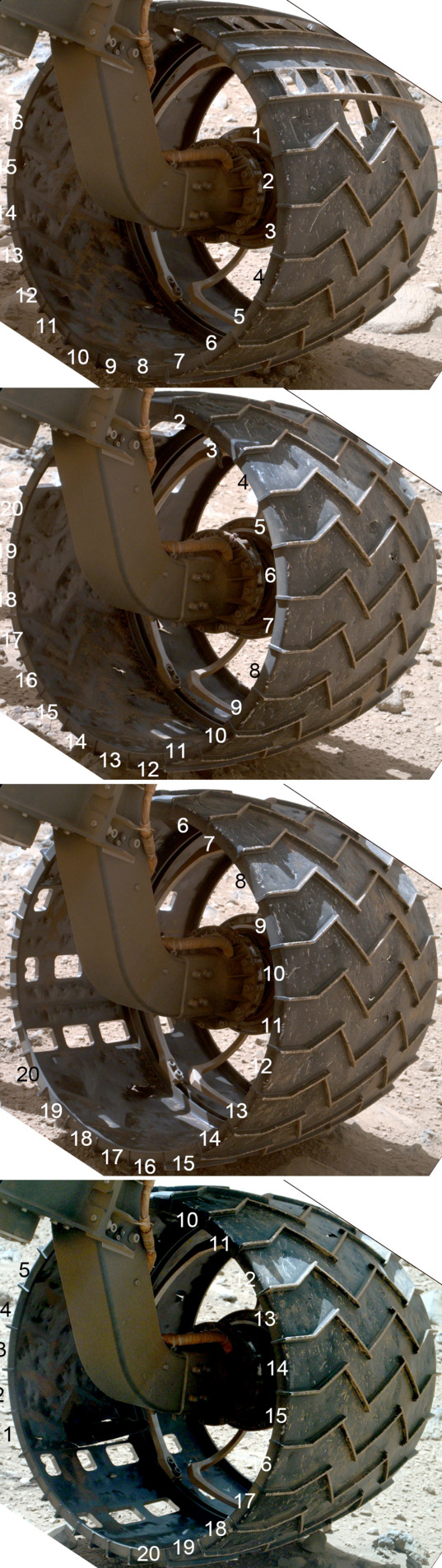 Curiosity wheel survey, sol 513: Left front wheel