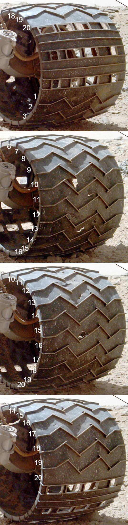 Curiosity wheel survey, sol 513: Left middle wheel