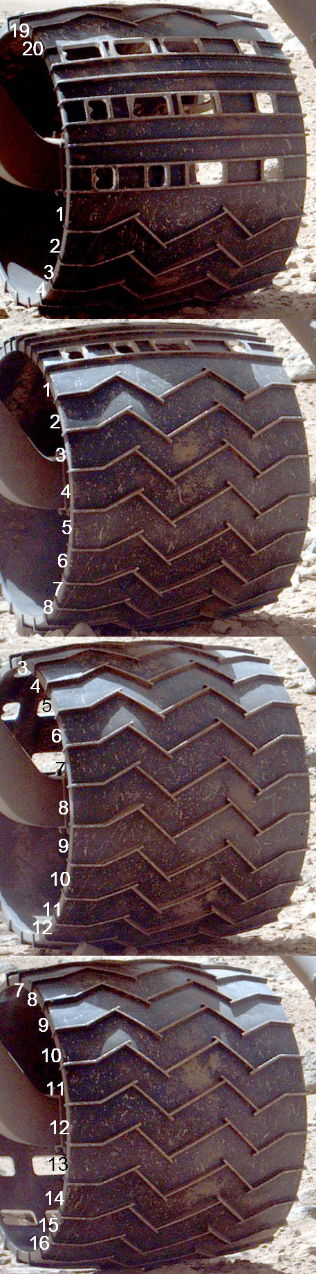 Curiosity wheel survey, sol 513: left rear wheel