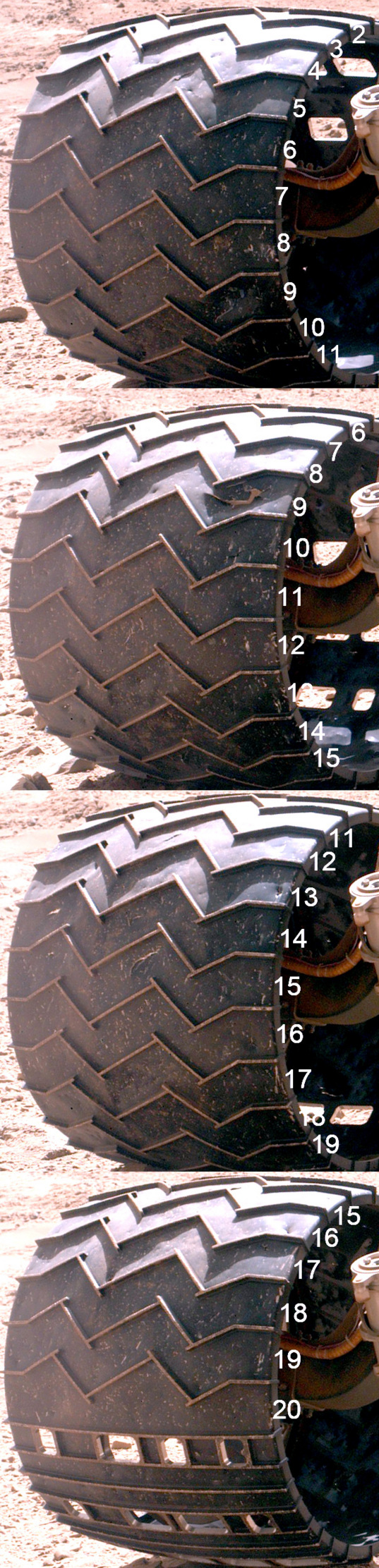 Curiosity wheel survey, sol 513: Right middle wheel