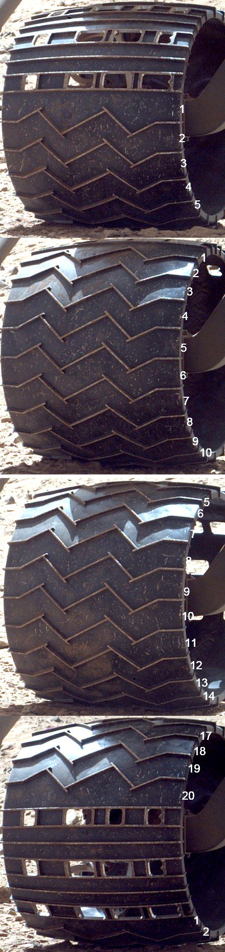 Curiosity wheel survey, sol 513: right rear wheel