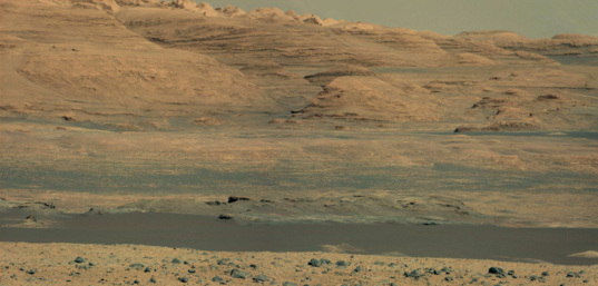 Panoramic view of distant foothills, Curiosity sol 517