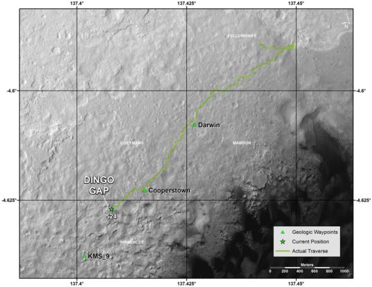 Curiosity route map from landing through Dingo Gap with quad names, sol 527