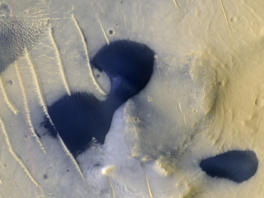 Dark ripple-covered dunes on Mars