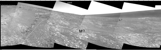 West-facing Navcam panorama, sol 3519