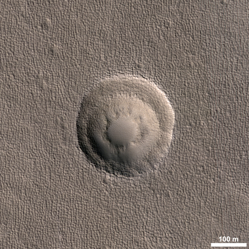 Triple-terraced crater on Mars