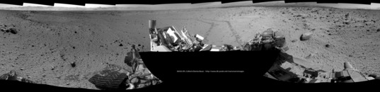 Curiosity Navcam view back toward Kylie, Violet, and Moonlight valleys, sol 560