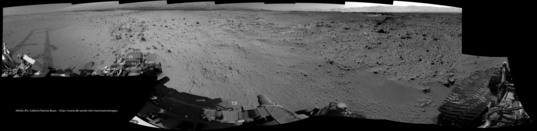 Curiosity Navcam view toward the next valley, sol 561