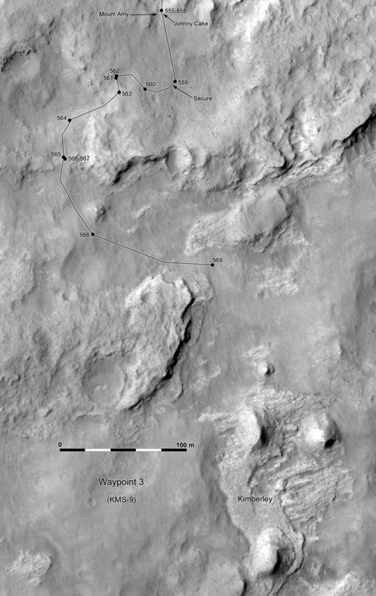 Phil Stooke's Curiosity Route Map: sols 555 to 569, past Kylie to Kimberley