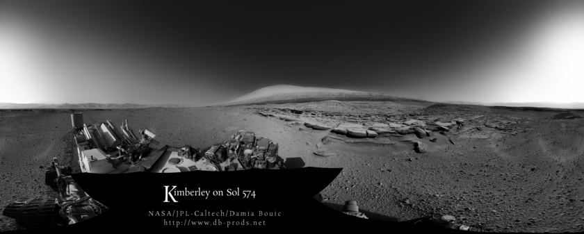 Navcam panorama of the Kimberley science stop from the north, Curiosity sol 574