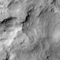 HiRISE image of Curiosity across Dingo Gap (detail)