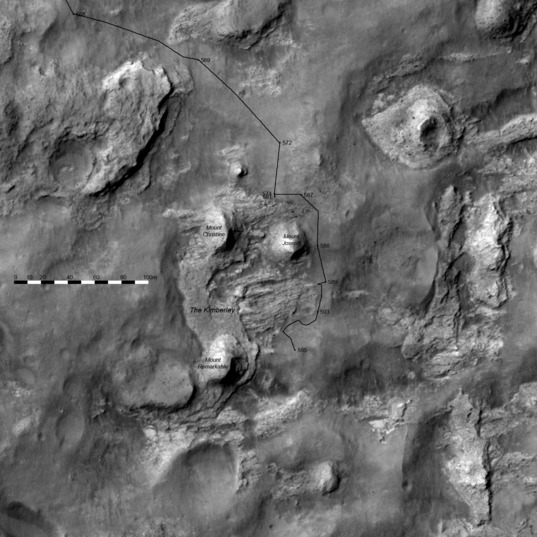 3D route map for Curiosity: Detail view of the Kimberley, sols 568-595