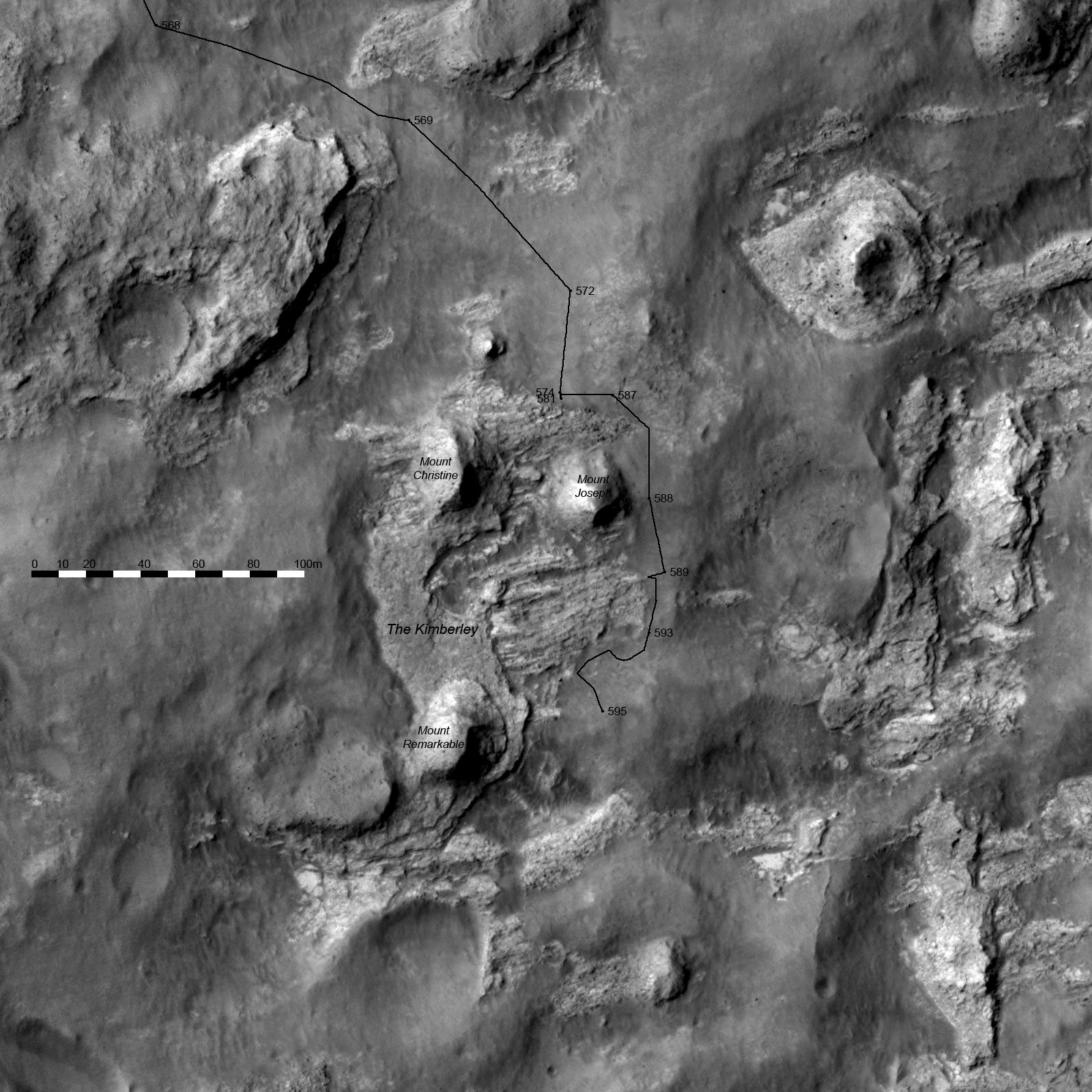 3D route map for Curiosity Detail view of the Kimberley sols 568