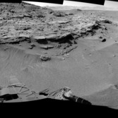 Navcam panorama of Mount Remarkable at the Kimberley, including planned drill location, sol 606