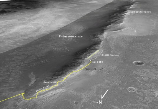 Oblique view of the traverse south up the rim of the Endeavour crater