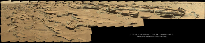 Outcrop southeast of the Kimberley, Curiosity sol 631