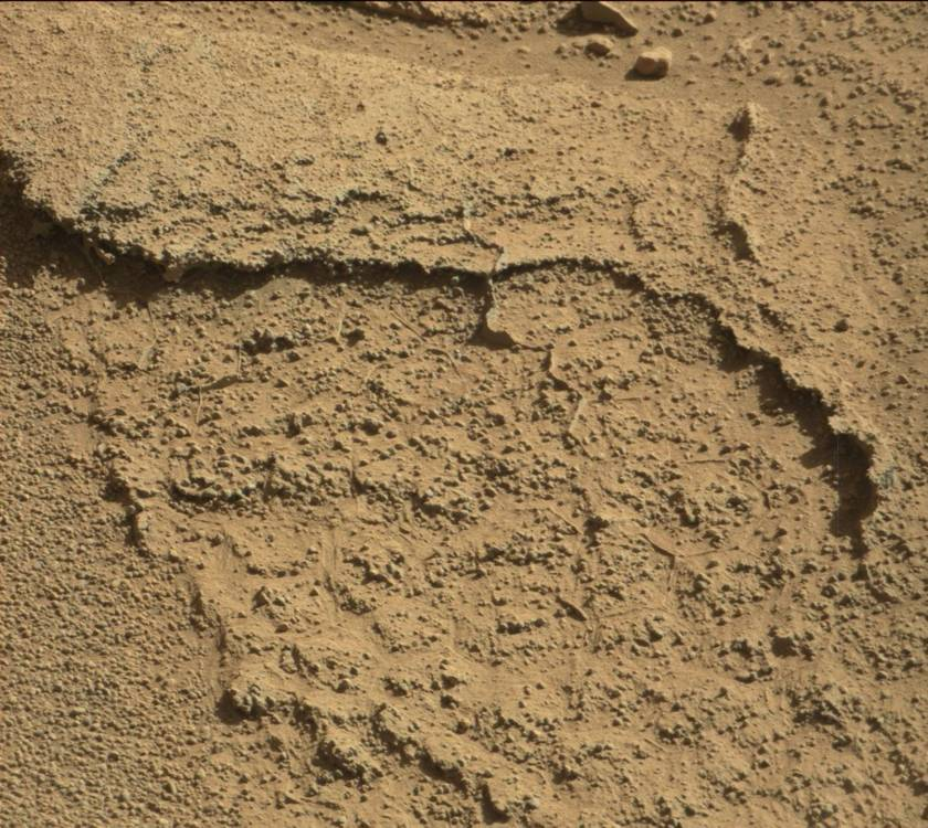 Polygonal features in a rock near the Kimberley, Curiosity sol 632