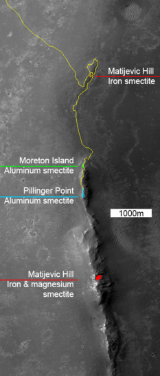 Clay mineral locations at the rim of Endeavour crater mapped by CRISM with optional rover traverse