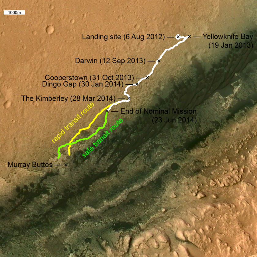 Curiosity route map: Wide view: comparing