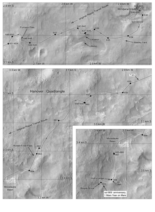 Phil Stooke's Curiosity Route Map #6: Windjana and Robert Frost Pass (sols 603-669)