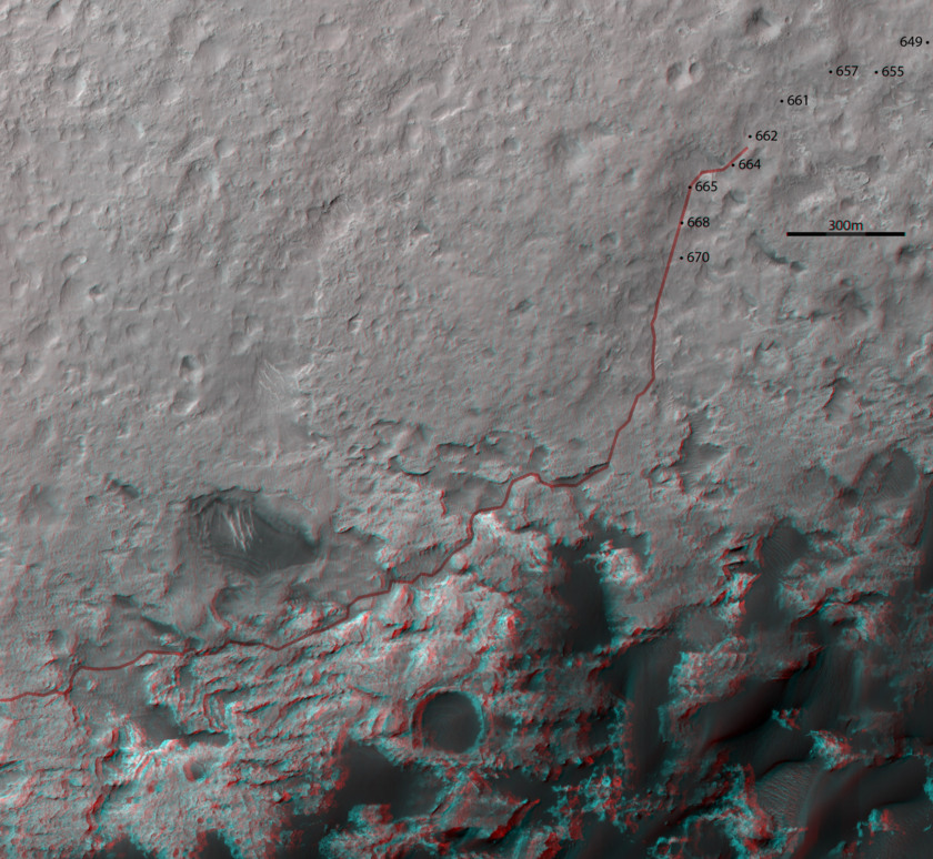 3D route map for Curiosity: Along the dunes to the edge of Murray Buttes, sols 661 and following