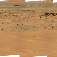 Caprock and sand ripples, Curiosity sol 679